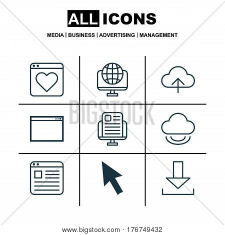 Set Of 9 Internet Icons. Includes Login, Program, Data Synchronize And Other Symbols. Beautiful Design Elements.