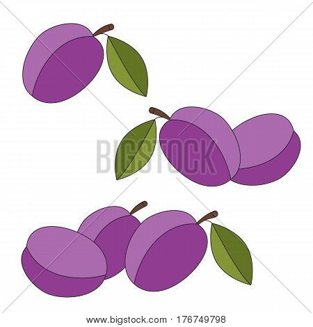 Sweet Plums cartoon. Outlined character with black stroke.