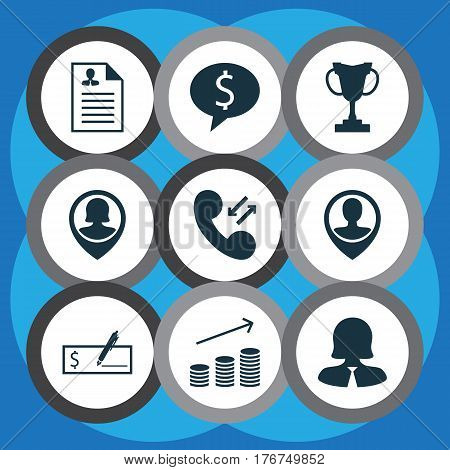 Set Of 9 Human Resources Icons. Includes Bank Payment, Curriculum Vitae, Tournament And Other Symbols. Beautiful Design Elements.