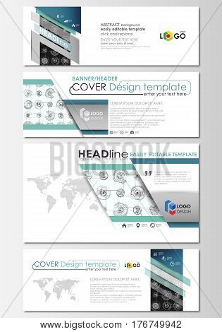 Social media and email headers set, modern banners. Business templates. Flat layouts in popular sizes. High tech design, connecting system. Science, technology concept. Futuristic abstract vector background.