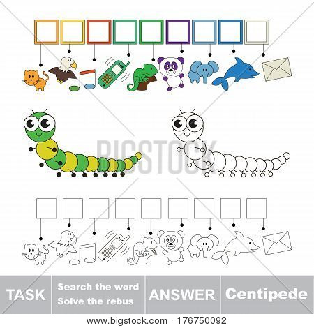 Vector rebus game for children. Easy educational kid game. Simple game level. Find solution and write the hidden word Centipede.