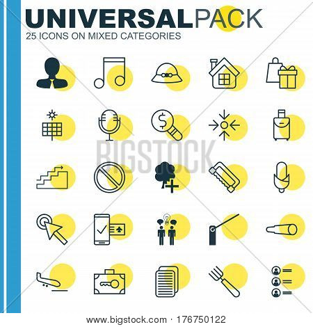 Set Of 25 Universal Editable Icons. Can Be Used For Web, Mobile And App Design. Includes Elements Such As Garden Fork, Mike, Roadblock And More.