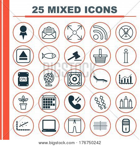Set Of 25 Universal Editable Icons. Can Be Used For Web, Mobile And App Design. Includes Elements Such As Pannier, PC, Alcohol Forbid And More.