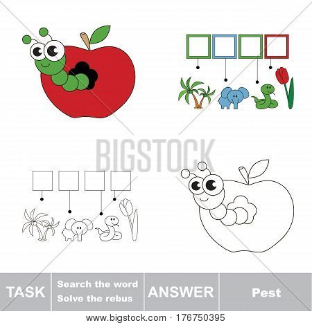 Vector rebus game for children. Easy educational kid game. Simple game level. Find solution and write the hidden word Pest. The cute apple worm.