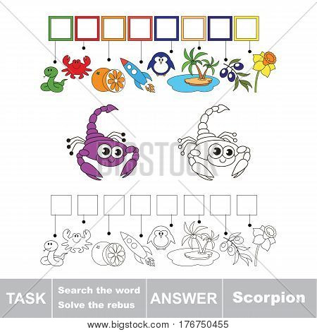 Vector rebus game for children. Easy educational kid game. Simple game level. Find solution and write the hidden word Scorpion.