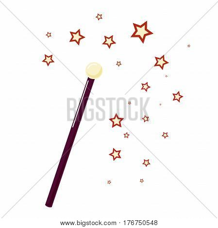 Magic wand with small stars attribute magician. Isolated on white.