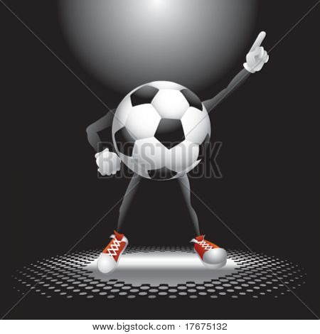 interesting background and soccer ball man