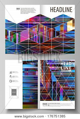 Business templates for bi fold brochure, magazine, flyer, booklet, report. Cover design template, abstract vector layout in A4 size. Glitched background made of colorful pixel mosaic. Digital decay, signal error, television fail. Trendy glitch backdrop.
