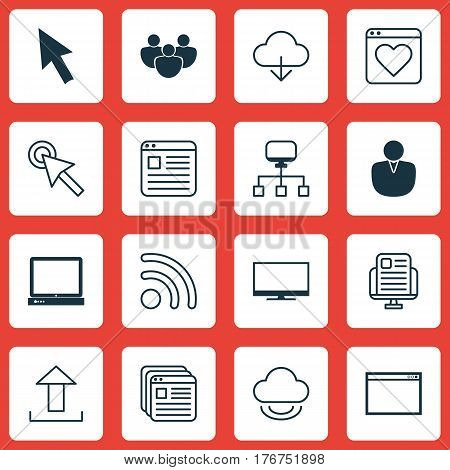 Set Of 16 Web Icons. Includes Display, Wifi, Followed Website And Other Symbols. Beautiful Design Elements.