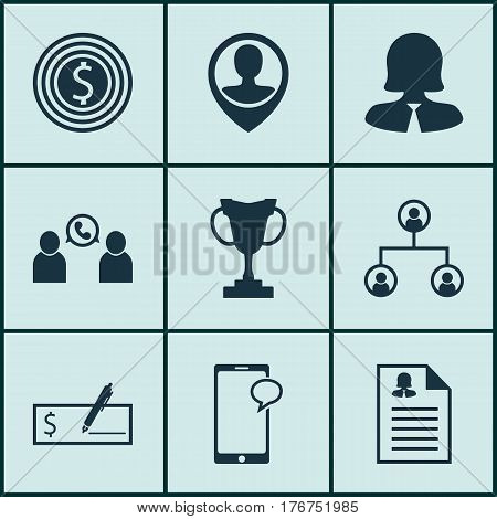 Set Of 9 Human Resources Icons. Includes Tree Structure, Employee Location, Business Woman And Other Symbols. Beautiful Design Elements.