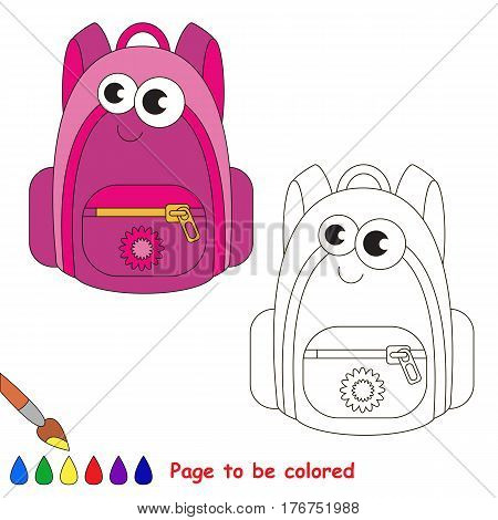 School bag to be colored. Coloring book to educate kids. Learn colors. Visual educational game. Simple level. Coloring pages.