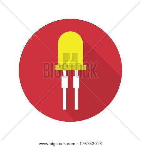 Vector illustration of light-emitting diode.  LED energy saving bulb. The trace element of the electronic device. Icon with long shadow. Flat design