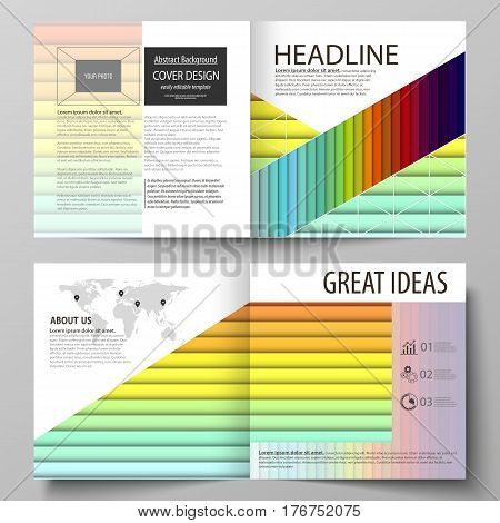 Business templates for square design bi fold brochure, magazine, flyer, booklet or annual report. Leaflet cover, abstract flat layout, easy editable vector. Bright color rectangles, colorful design with overlapping geometric rectangular shapes forming abs