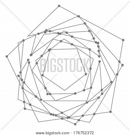 Abstract polygon shape. Vector geometry pattern. Dark line and dot mesh illustration. Modern minimal geometry background.