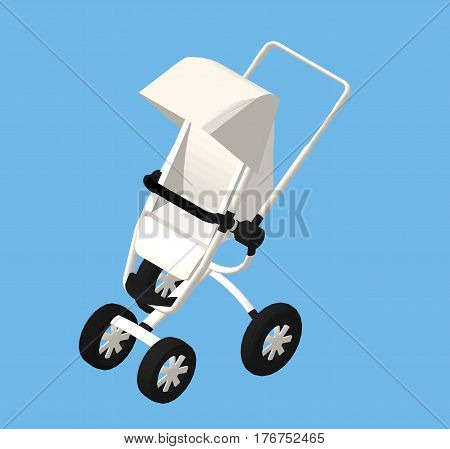 Isometric Modern Baby Carriage. Vector Illustration Isolated.