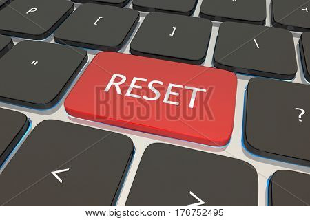 Reset Computer Keyboard Key Button Restart Again 3d Illustration