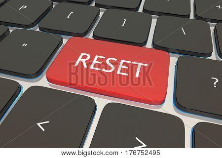 Reset Computer Keyboard Key Button Restart Again 3d Illustration