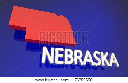 Nebraska NE Red State Map Name 3d Illustration