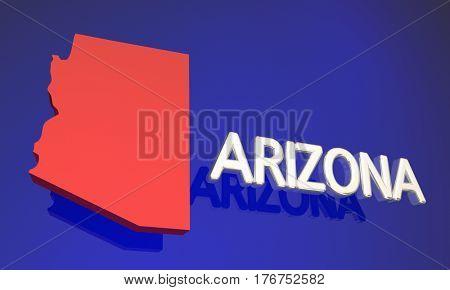 Arizona AZ Red State Map Name 3d Illustration
