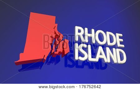Rhode Island RI Red State Map Name 3d Illustration