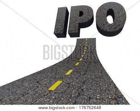 IPO Initial Public Offering Company Going Public Road 3d Illustration