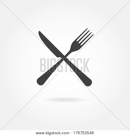 Fork and knife crossed icon. Vector illustration in flat style.
