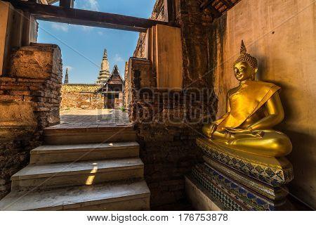 Buddha image in ruin temple of Wat Phutthaisawan Ayuthaya Thailand