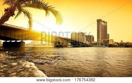 Bridge thropugh Nile in Cairo in the evening
