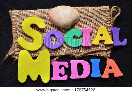 word social media on a  abstract colorful background