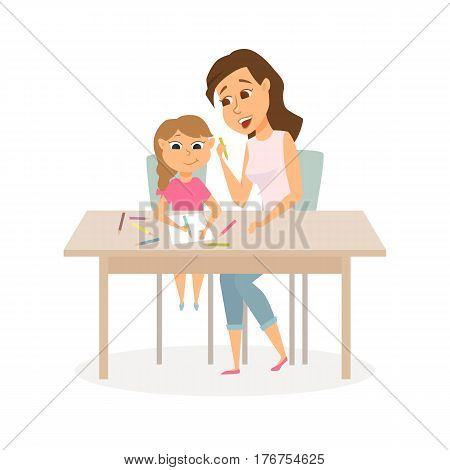 Mother and daughter drawing. Mom and child study or playing together. A woman to teach a girl to draw. Happy family. Kindergarten or school scene. Cartoon vector characters isolated on white