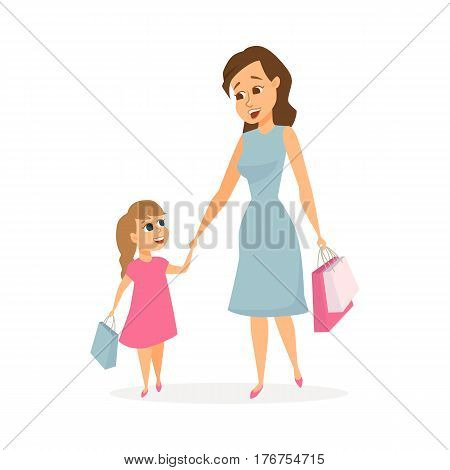 Mother and daughter shopping. Mom and child holding hands and carry bags with purchases. Family leisure. Happy women and girl in store or mall. Cartoon characters isolated on white