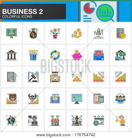 Business finance money vector icons set modern solid symbol collection filled colorful pictogram pack. Signs logo illustration. Set includes icons as bank bond exchange strategy investment