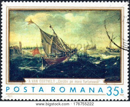 UKRAINE - CIRCA 2017: A stamp printed in the Romania shows ships in the storm by Andries van Eertvelt 1590-1652 circa 1971