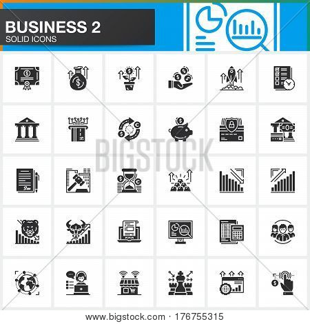 Business finance money vector icons set modern solid symbol collection filled style pictogram pack. Signs logo illustration. Set includes icons as bank bond exchange strategy shop investment