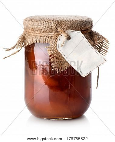 Jar of confiture isolated on a white background
