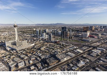 Las Vegas, Nevada, USA - March 13, 2017:  Aerial view of casino resorts along the Las Vegas Strip in Southern Nevada.