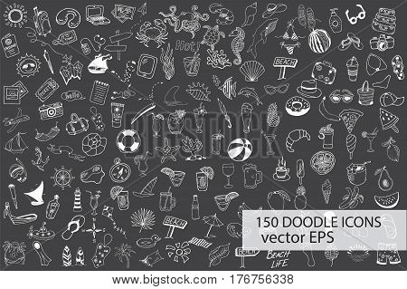 Hand drawn sea, travel, drinks, fruits, summer doodle Icons collection on chalkboard background. Vector illustration
