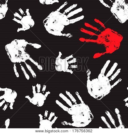 Social problems seamless pattern. Violence pattern. Handprint horror background. Design for social organization.