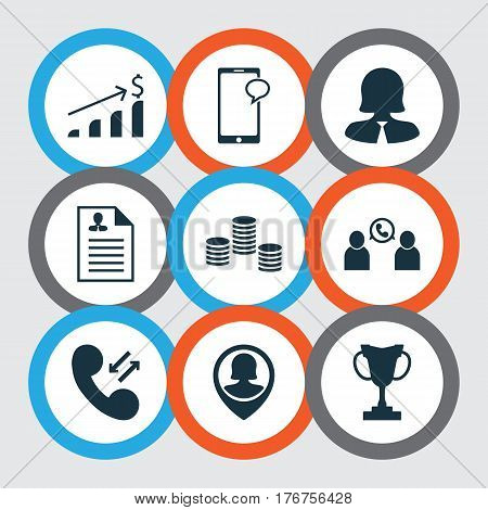Set Of 9 Hr Icons. Includes Pin Employee, Tournament, Business Woman And Other Symbols. Beautiful Design Elements.