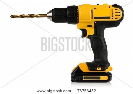rechargeable drill and screwdriver drill on a white background