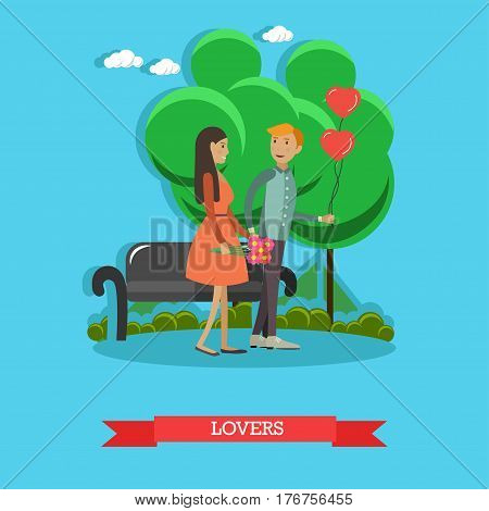 Vector illustration of happy loving couple having got a date. Sweethearts walking in the park flat style design element.