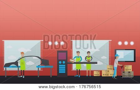Vector illustration of car assembly plant. Production line workers, factory workers packing car parts and loading cardboard boxes flat style design elements.