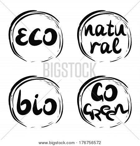 Four logo with inscription bio, natural, go green, eco. Label Trading symbol
