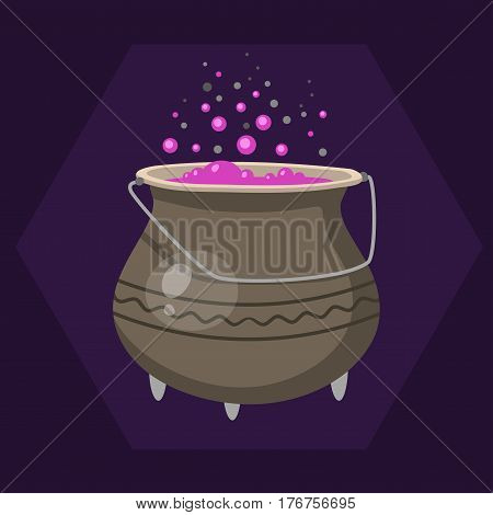 Cartoon halloween witches cauldron with pink bubbling cooking art magic pot and brew design holiday party potion vector illustration. Retro spell wicked horror liquid spooky cooking.