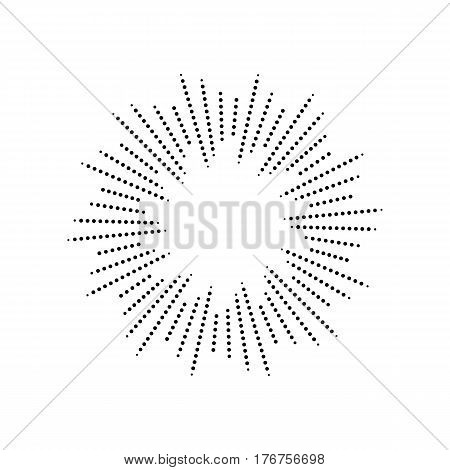 Burst from circles. Abstract dotted surface. Background with black particles. Retro vintage hipster style