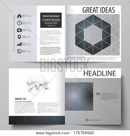 Business templates for square design bi fold brochure, magazine, flyer, booklet or annual report. Leaflet cover, abstract flat layout, easy editable vector. Colorful dark background with abstract lines. Bright color chaotic, random, messy curves. Colourfu