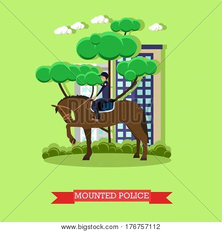 Vector illustration of mounted police patrolling street, flat style design element.