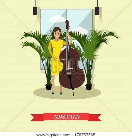 Vector illustration of musician female playing contrabass string musical instrument. Flat style design element.