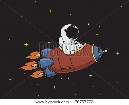 astronaut flying in outer space on rocket.Character design.Vintage childish vector illustration