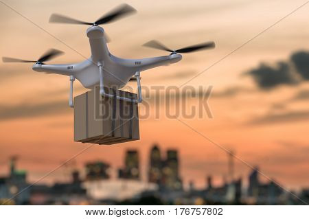 3D Rendered Illustration Of Flying Drone Delivering Package At S